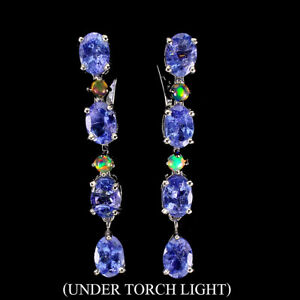 Unheated Oval Blue Tanzanite 7x5mm Fire Opal 925 Sterling Silver Earrings