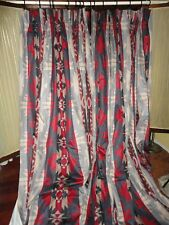 WAVERLY BIG SKY BLUE RED GRAY RED SOUTHWESTERN (PAIR) PINCH PLEATED PANELS 37X96