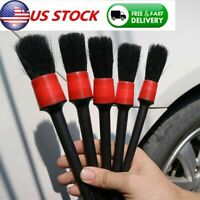 US 5Pcs Natural Boar Hair Detail Brush Auto Detailing Brushes Car Cleaning Tools
