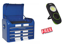 Topchest 4 Drawer BLUE WITH WHITE RACING STRIPE Retro Style Toolbox  SWS20