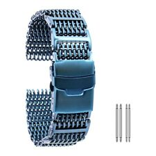 Solid Stainless Steel Mesh Watch Band for Men Women Polished Metal Watch Strap