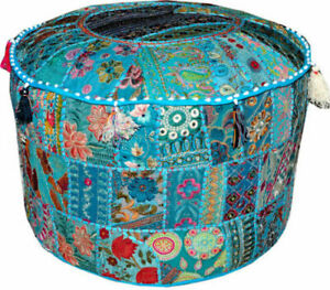 """18"""" Indian Turquoise Handmade Round Pouf Ottoman Foot Stool Decorate Chair Cover"""