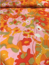 Marimekko Floral heavy cotton satin, one yard, Finland pink orange yellow