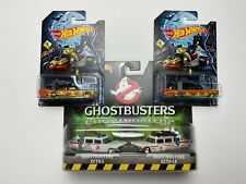HOT WHEELS GHOSTBUSTERS ECTO-1 HALLOWEEN & WHITE SET ECTO-1A LOT OF 3 ECTO