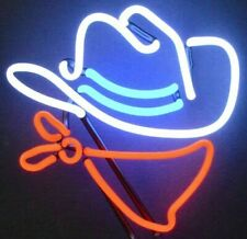 Cowboy Hat Lighted Neon Sign Sculpture Bar Game Room Office Base Mounted