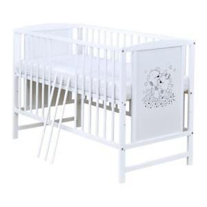 Babybett Gitterbett Kinderbett Weiß Bärchen Motiv 120x60 Matratze