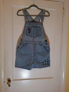 Route 66 Bib Overall Shorts Womens Sz M Blue Light Wash Denim Jeans Shortalls