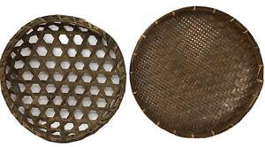 Vintage Round Wicker Basket Bamboo Woven Bowl Wall Hanging Boho Combo Decor (2)