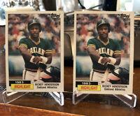 1984 TOPPS #2 RICKEY HENDERSON Highlight HOF Oakland Athletics ~ Lot of 2 MINT