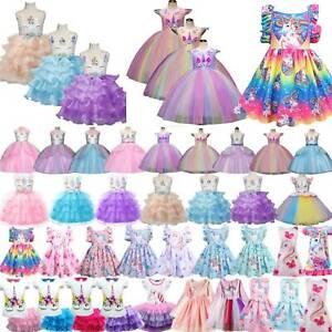 Einhorn Kinder Mädchen Partykleid Tüll Tutu Kleid Abend Ballkleider Prinzessin