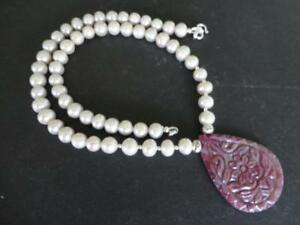 GENUINE RUBY HANDCARVED PENDANT SILVER GRAY FRESHWATER PEARLS STERLING NECKLACE
