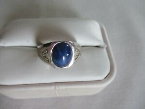 MEN'S STERLING SILVER & STAR SAPPHIRE RING SIZE 10 1/2