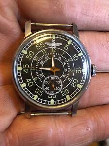 Watch Pilot Aviation  Mechanical WristWatch Pobeda Vintage Military Style USSR