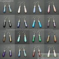 Natural Gemstone Hexagonal Point Reiki Chakra Healing Beads Silver Plat Earrings