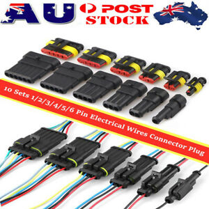10 Kits Car Waterproof Electrical Wire Connector Plug Terminals 1/2/3/4/5/6 Pin