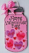HAPPY VALENTINE'S DAY Mason Jar SIGN Wall Art Door Hanger Hanging Plaque Holiday