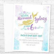 8 Mermaid Dive Under The Sea Birthday Or Shower Personalized Invitations
