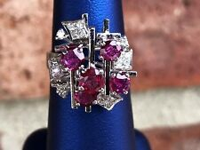 18K GOLD ABSTRACT ART DECO RUBY & DIAMOND RING SIZE 6.25