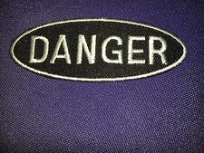 Iron On Patch - Black/Silver  Danger