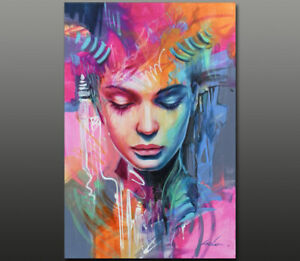 Gala ORIGINAL art nude girl female portrait face modern LARGE oil painting  ~NEW