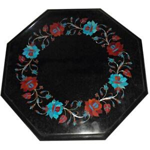 "12"" Black Marble corner Table Top PietraDura Inlay work home decor"