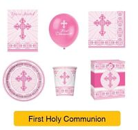 HOLY 1ST/FIRST COMMUNION Party Range PINK/GIRL - UNIQUE RADIANT CROSS
