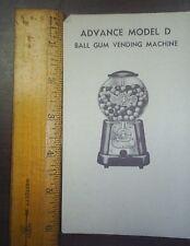 Advance gum machine price list model D BALL GUM Vending ad sheet nice small ad