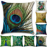 """Square Peacock Feather Printed Pillow Cases Cushion Covers Home Decor Green 18"""""""