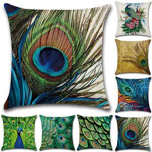 18'' Peacock Pattern Square Cushion Cover Throw Pillow Case Outdoor Garden Decor