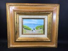 """J. Polk Enamel On Copper """"Stroll On The Beach"""" Framed Art Signed"""