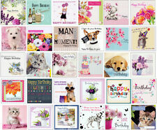 PACK OF 30 SQUARE MIXED MENS & WOMEN'S BIRTHDAY GREETING CARDS