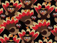 FAT QUARTER FABRIC  TURKEY  AUTUMN THANKSGIVING  GOBBLE GOBBLE  FUN TURKEYS  FQ