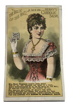 1879 Mechanical Card Henry's Carbolic Salve Victorian Lady / Ultra Rare Card