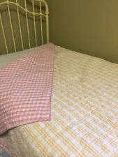 Pottery Barn Kids Twin Matelasse Cotton Bedspread Pink Yellow plaid Comforter