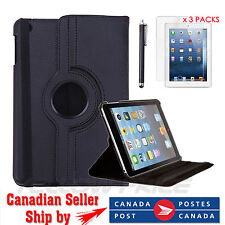 Apple iPad Mini 1 2 - Black 360 Rotating Leather Case+ Clear Screen Cover+Stylus