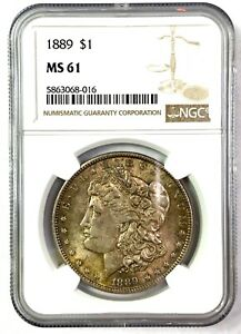 1889 Morgan Silver Dollar - NGC MS61 - NICE TONER