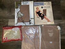 SEARS GLEESON  Durene ~ 5 Pair Women's NOS Vtg Pantyhose Nylon Cotton 1950's