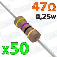 Resistencia 47 ohm 0,25w ±5% 300v - Lote 50 unidades - Arduino Electronica DIY