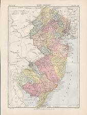 New Jersey Original colour map 1875 W & A K Johnston