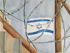 """Painter Suzanne Obrand, Holocaust Survivor, Watercolor Painting """"Flag of Israel"""""""