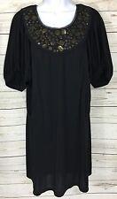 BCBG Max Azria Black Metallic Accent Shift Dress Size M