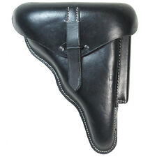 German Army WALTHER P38 P-38 Pistol HOLSTER - Hard Shell Black Leather WW2 Repro