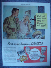 1944  CAMEL CIGARETTES ARMY NAVY MARINES WW2 PRINT AD