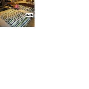 IKEA Hedda Band KING Duvet Cover and Pillowcases Set GREEN Multi STRIPE Dots