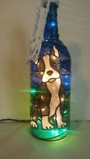 Boston Terrier Inspiered Stained Hand Painted Lighted Wine Bottle Glass look