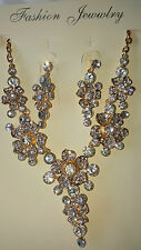 Gold colour flower Diamante set -  Necklace & earrings set wedding prom