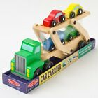 Brand New Melissa & Doug Quality Classic Wooden Toy Car Carrier Truck & 4 Cars
