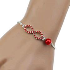 SILVER & CRYSTAL BRACELET IN RED **UK SELLER** PRESENT JEWELLERY GIFT BRIDE