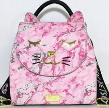 Betsey Johnson Pink Marbled Cat Design Adorable Backpack Bag