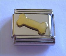 9mm Italian Charms E113 Gold Plated Dog Bone Fits Classic Size Bracelet